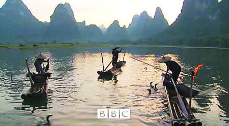 """《美丽中国》中展现了漓江渔民长达1300年的用鸬鹚捕鱼的传统,每只鸬鹚只侍奉一个""""主人"""",它们在孵化出壳时就被记上烙印,捕鱼后如果得不到喂食奖赏,鸬鹚会""""罢工""""。但随着尼龙渔网的普及,鸬鹚捕鱼现在已变成旅游表演项目,而不是糊口工具"""