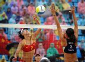 图文:女子沙排薛晨/张希获铜牌 张希以2比0胜