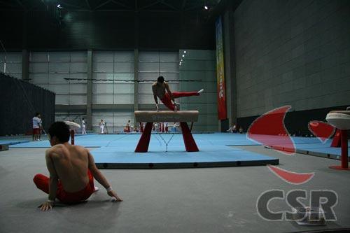 图文:国家体操队在适应比赛场地
