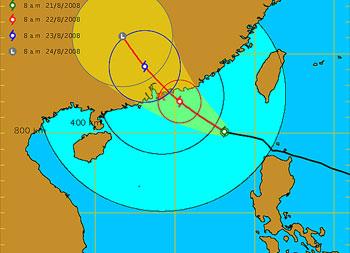 """香港天文台21日早上表示,台风""""鹦鹉""""继续靠近香港,天文台会在21日下午稍后考虑发出3号强风信号。(图片来源:香港特区政府网站)"""