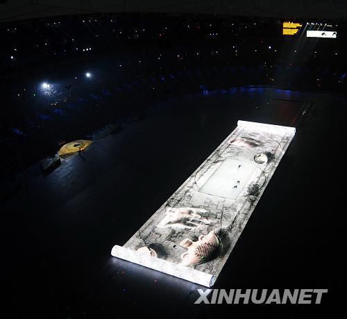 """8月8日晚8时,第29届夏季奥林匹克运动会在国家体育场——""""鸟巢""""隆重开幕。这是开幕式上的大型文艺表演《美丽的奥林匹克》。新华社记者张铎摄"""