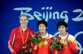 图文:女子10米跳台颁奖 前三名合影