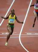图文:女子200米牙买加选手夺冠 韦罗・坎贝尔