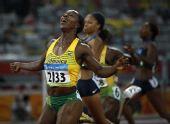 图文:女子200米牙买加选手夺冠 韦罗妮坎贝尔