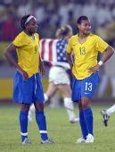 图文:女足美国队夺冠 巴西队球员桑托斯沮丧