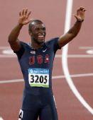 图文:男子400米梅里特夺冠 梅里特在夺冠后