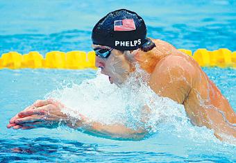 """个人 菲尔普斯/""""人们问我,如果我不当游泳运动员的话,那我最喜欢当什么,..."""