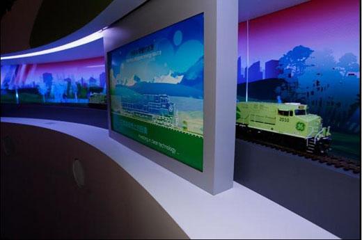 GE创想中心内,来自GE运输系统集团最先进的混合动力机车模型正在展出,它是目前世界上最节能的机车。GE创想中心坐落于奥林匹克公园中心区,展出的所有创新科技产品都在2008北京奥运会基础设施建设中有所应用