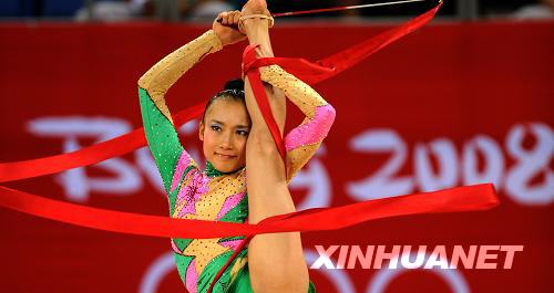 8月22日,中国选手李红杨在资格赛带操比赛中。当日,北京奥运会艺术体操个人全能资格赛进行了棒操和带操的比赛,中国选手李红杨最终以65.950分的总成绩名列资格赛第13位,未能进入决赛。新华社记者程敏摄