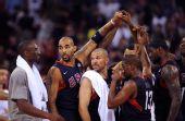 图文:男子半决赛美国战胜阿根廷 科比庆祝胜利