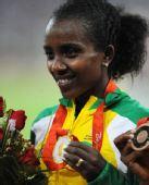 图文:女子5000米颁奖仪式举行 埃塞俄比亚选手