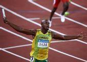 图文:男子4X100米接力牙买加队夺金 比赛庆祝