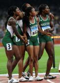 图文:女子4X100米接力赛况 尼日利亚队选手