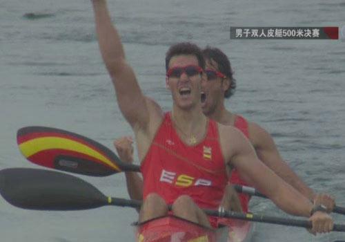 图文:[夺金时刻]西班牙男子双人皮艇500米夺冠