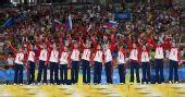 图文:女子手球挪威获得冠军 向观众致意