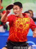 图文:乒球铜牌战王励勤完胜佩尔森 奋力回击