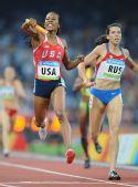 图文:女子4X400米美国队夺金 黑兹尔在比赛中