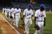 图文:棒球古巴获亚军 球员在颁奖仪式后离场