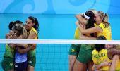 图文:女子排球冠军的庆祝
