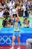 图文:男乒三虎包揽前三名 马琳高举双臂