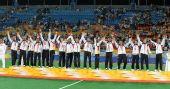 图文:男子曲棍球颁奖仪式 获得冠军的德国队