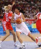 图文:女篮中国81比94俄罗斯 陈楠在投篮中