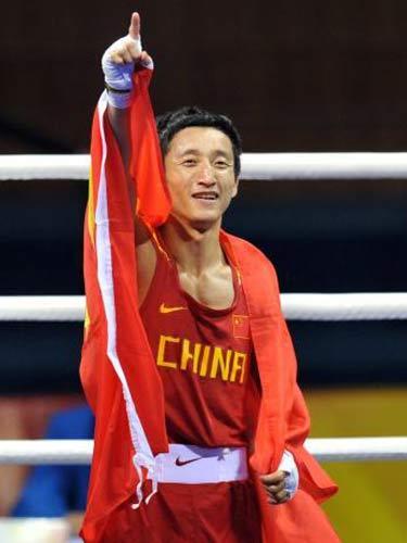 图文:拳击48公斤级邹市明摘金 胜利的霸气