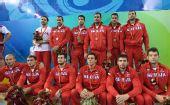 图文:男子颁奖仪式 塞尔维亚队获得铜牌