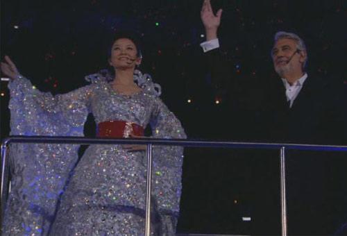 图文:北京奥运会闭幕式 宋祖英与多明戈献唱