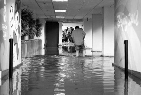 暴雨后,虹桥机场A楼到达区积水严重