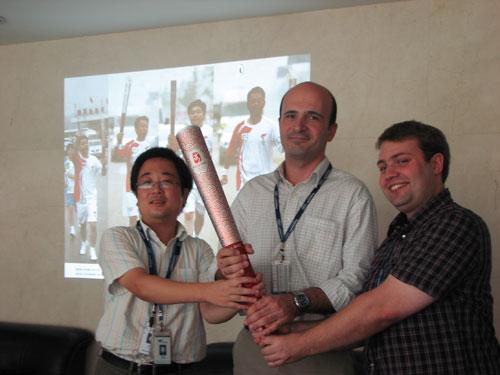 联想奥运一线工程师(从左至右:徐宏斌、Guido、Matti)