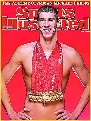菲尔普斯夺八金后登上美国体育杂志封面
