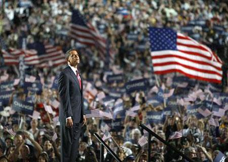8月28日,奥巴马在民主党大会上发表演讲。 新华/路透 图