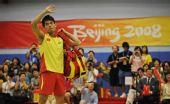 图文:金牌选手在港示范表演 林丹向观众致意