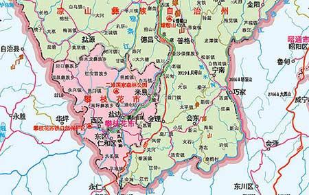四川攀枝花地震震区周边地图