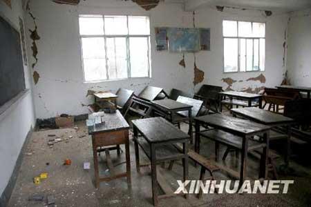 8月31日,会理县黎溪工业园片区中心小学教室损毁严重。新华社记者陈海宁摄