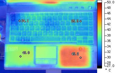方正R680笔记本机身正面红外热成像照片