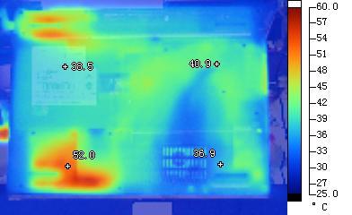 方正R680笔记本机身底部红外热成像照片