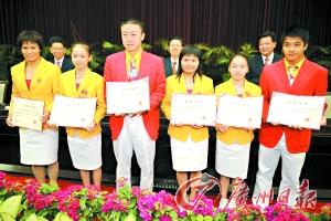 广东省政府决定给6名夺金运动员记一等功。 梁嘉健 摄