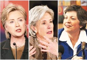 从左到右:希拉里、西贝利厄斯、纳波利塔诺将出马为奥巴马夺回女性选民的选票。