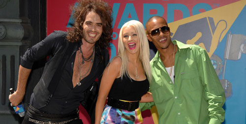 Russell Brand, Christina Aguilera, and T.I.