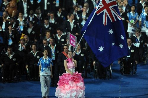 图文:残奥会开幕式入场仪式 澳大利亚代表团图片