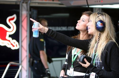 图文:F1比利时站美女 红牛女郎关注比赛