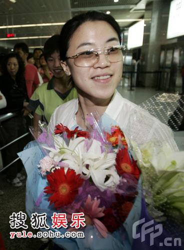 奥运冠军王楠一脸幸福