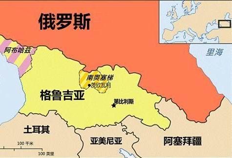 俄罗斯与南奥塞梯相对位置图