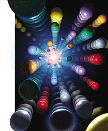 对撞喷出粒子示意图。