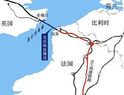 英法海底隧道示意图