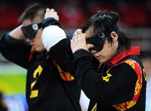 门球:[盲人马步]陈亮亮戴上眼罩图文岛v门球证图片