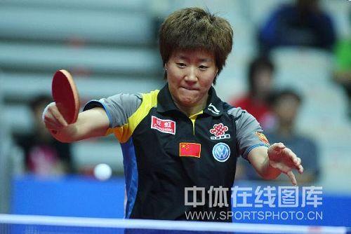 图文:中国乒球公开赛女单首轮 郭焱反拍回抽
