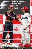 图文:F1意大利大奖赛正赛 领奖台上的祝贺